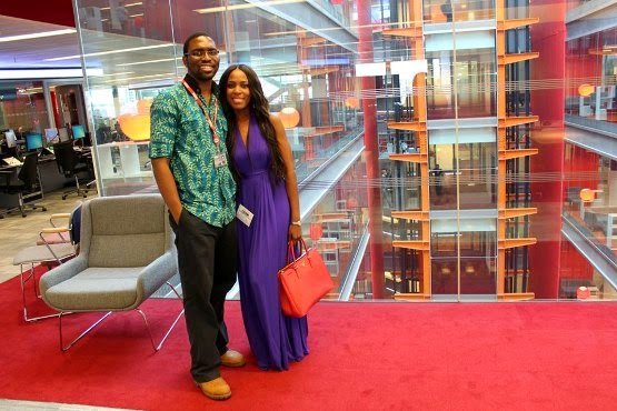 Linda Ikeji with Nkem Ifejika of BBC, London