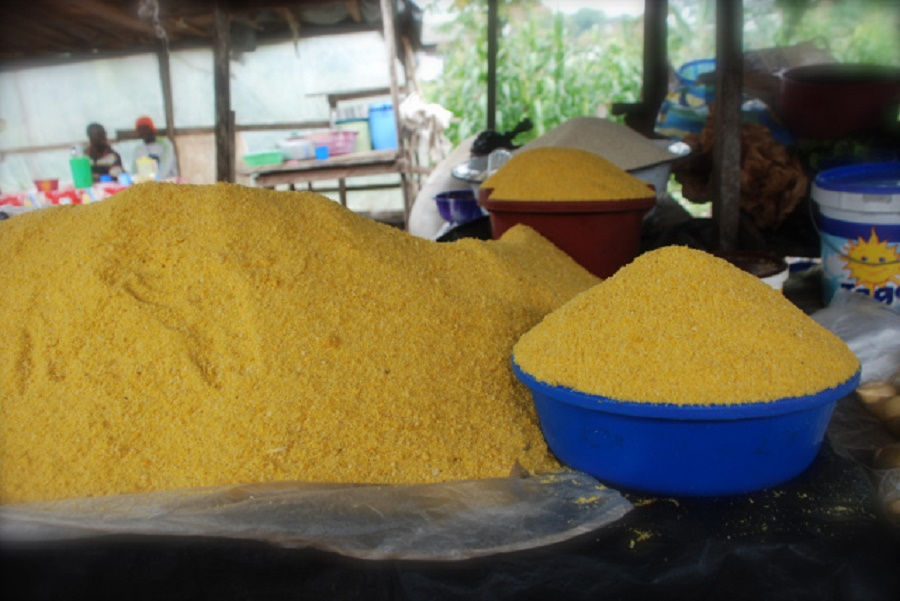 Locally made yellow garri
